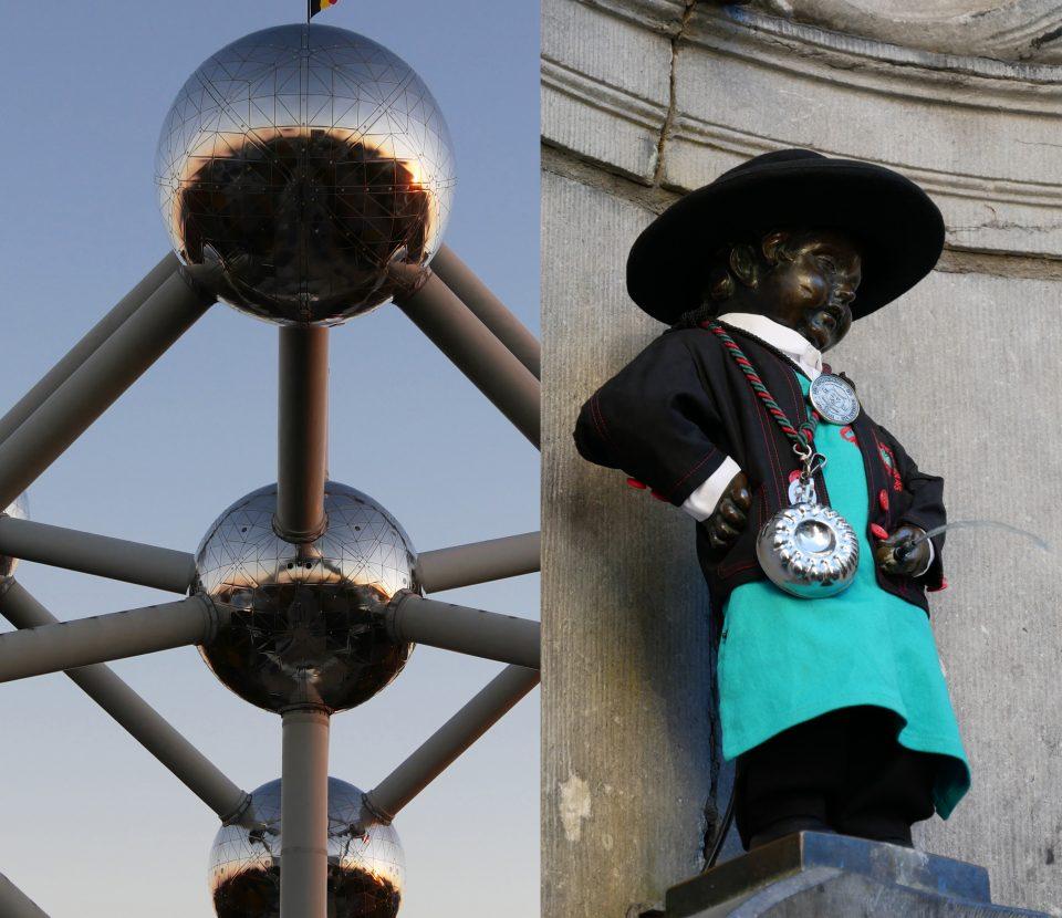 Simboli di Bruxelles. Atomium e Manneken Pis