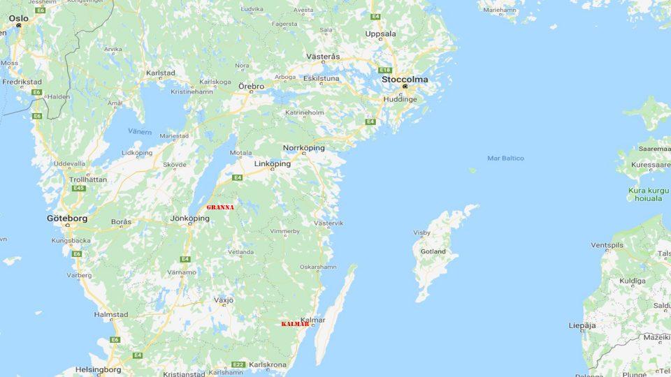 Granna e Kalmar. Mappa della zona compresa tra Stoccolma e Granna e Kalmar.