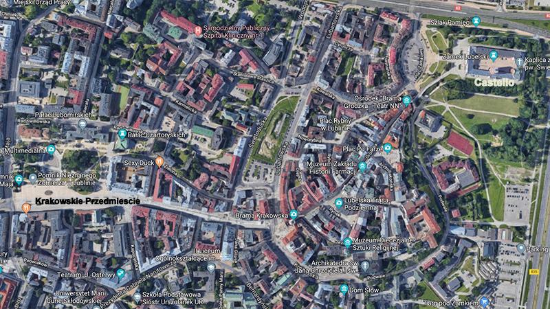 Lublino. Mappa del centro storico.