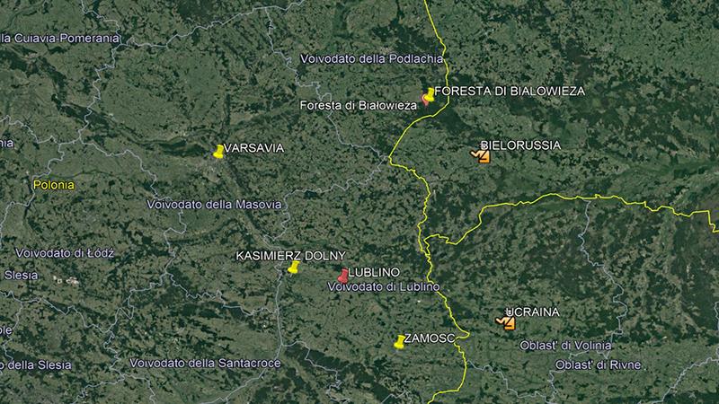 Lublino. Mappa delle località nelle vicinanze.