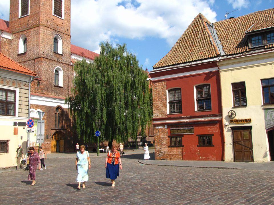Kaunas. Tra piazza del municipio e l'inizio della Vilniaus Gatvè, nei pressi della cattedrale.