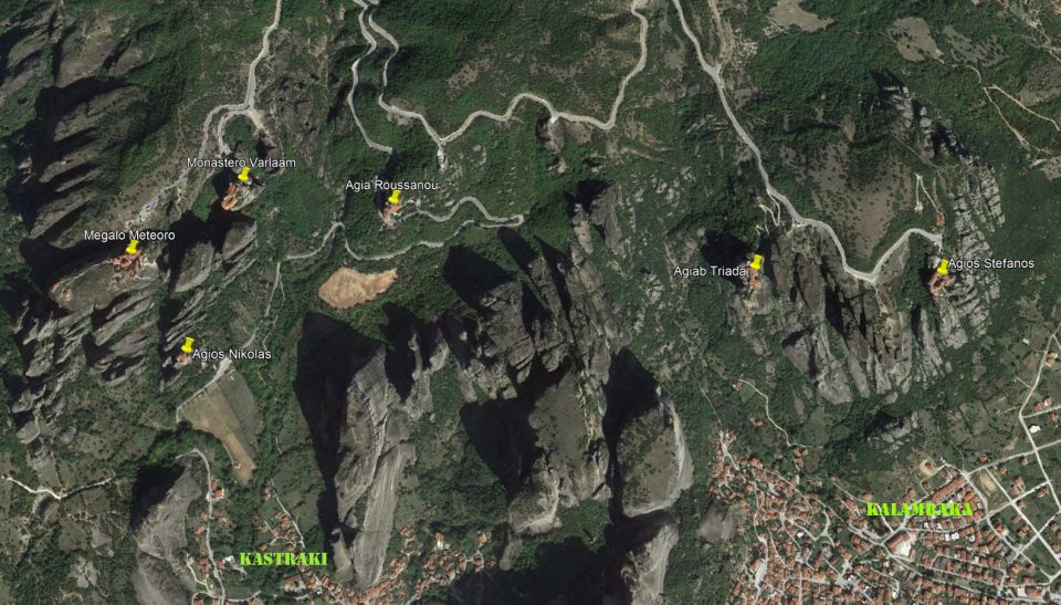 Meteore. Mappa per la visita dei monasteri.