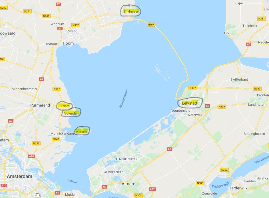 Edam Volendam Marken. Mappa dell'itinerario