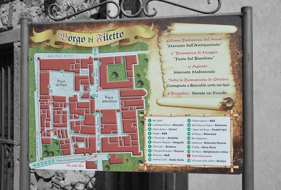 Filetto. Mappa commerciale del borgo di Filetto.