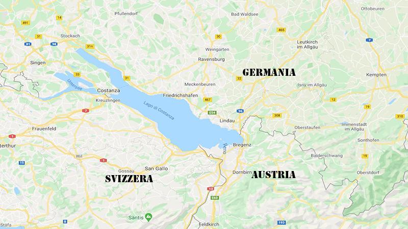 Bregenz. Mappa con i tre confini Svizzero, Tedesco e Austriaco.