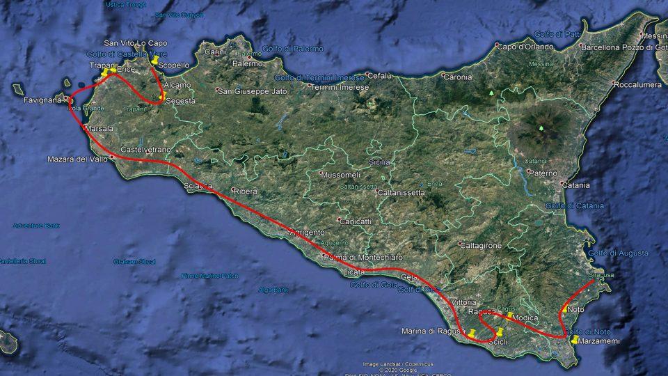 Viaggio in Sicilia. Mappa dell'itinerario di visita seguito.