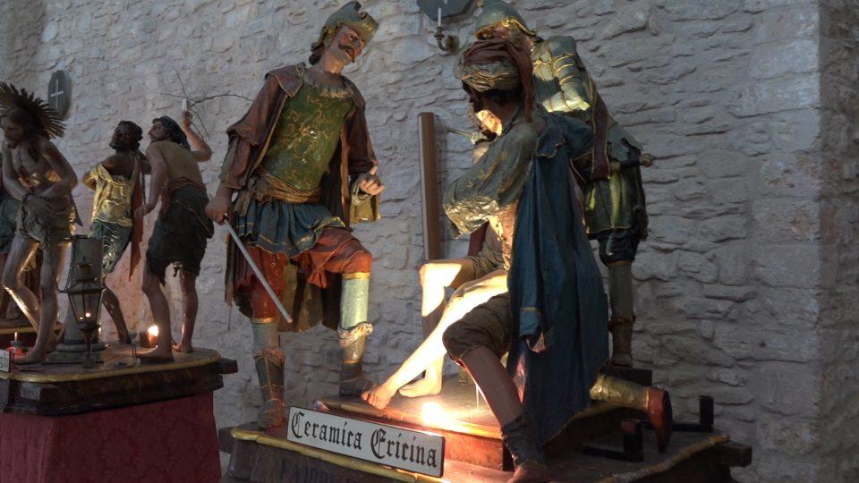 Erice. Sculture della processione del Venerdi Santo.